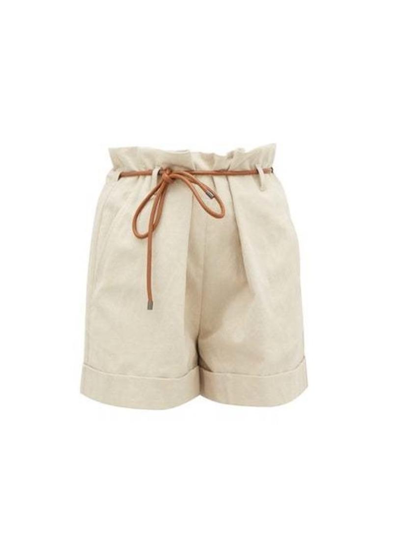 Brunello Cucinelli Paperbag-waist linen-blend shorts