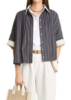 Brunello Cucinelli Pinstripe Layered Poplin Shirt