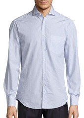 Brunello Cucinelli Pinstripe Long-Sleeve Cotton Shirt