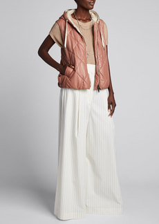 Brunello Cucinelli Pinstripe Stretch Cotton Poplin Pleated Volume Trousers