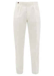 Brunello Cucinelli Pleated cotton-twill trousers