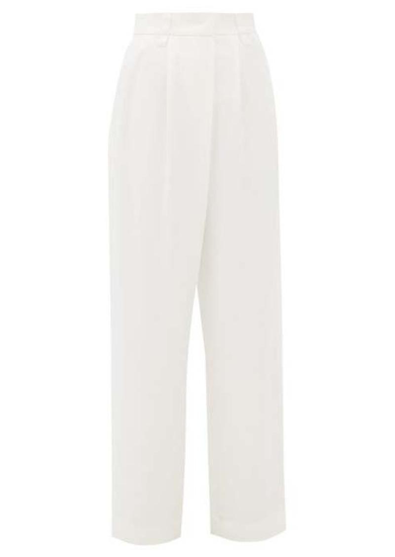Brunello Cucinelli Pleated high-rise crepe wide-leg trousers