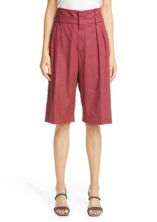 Brunello Cucinelli Pleated High Waist Bermuda Shorts