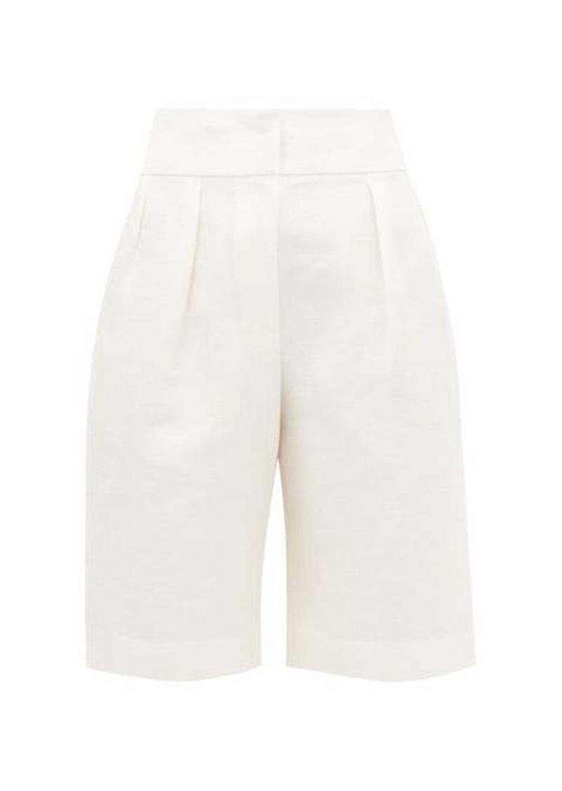 Brunello Cucinelli Pleated linen-blend wide-leg shorts