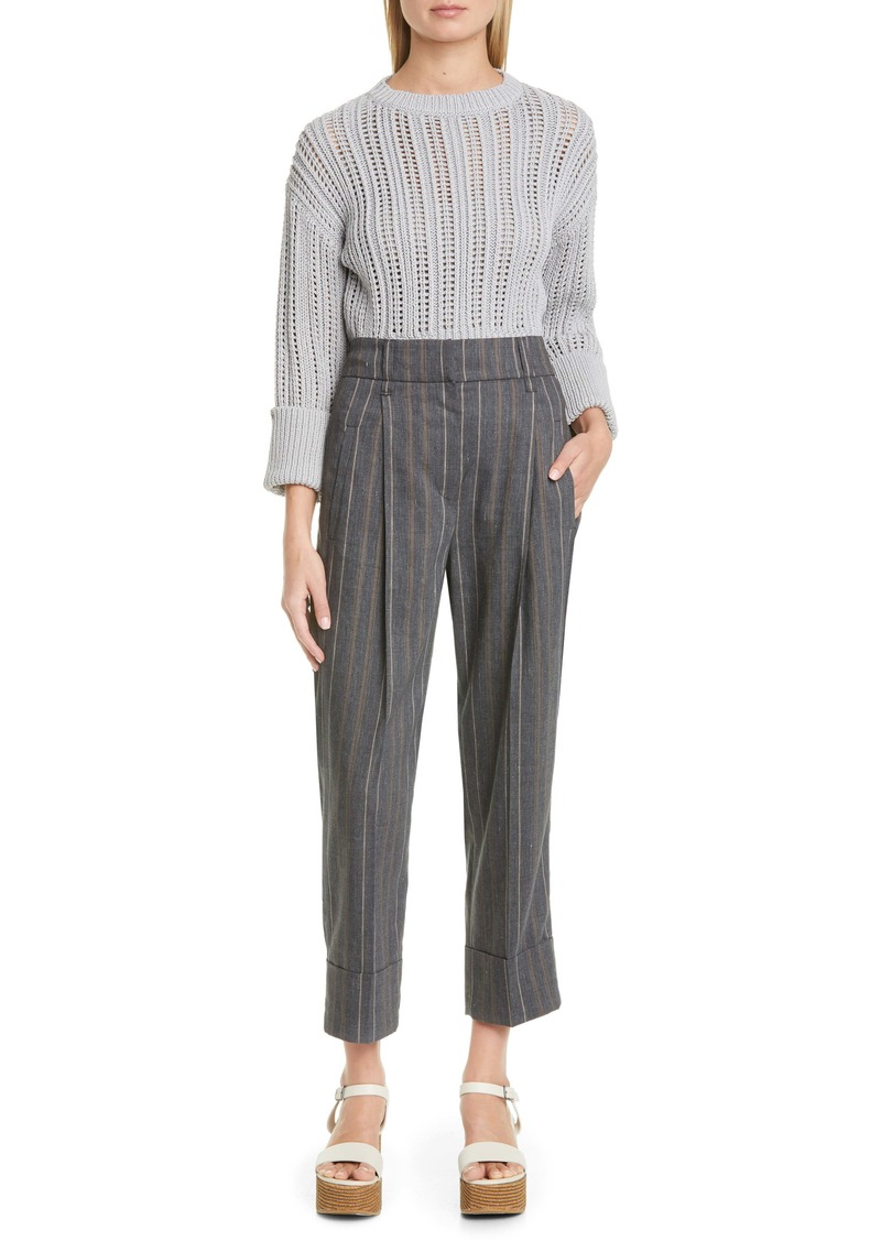 Brunello Cucinelli Pleated Stripe Stretch Linen & Wool Crop Pants