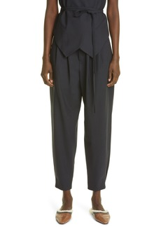 Brunello Cucinelli Pleated Taper Wool Blend Ankle Pants