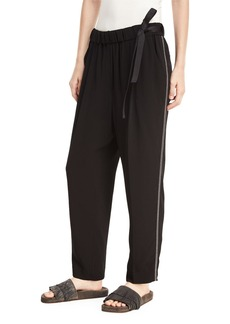 Brunello Cucinelli Pull-On Belted Straight-Leg Pants with Monili Track Stripes