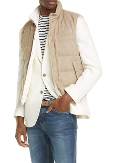 Brunello Cucinelli Reversible Linen Blend Hopsack Down Vest