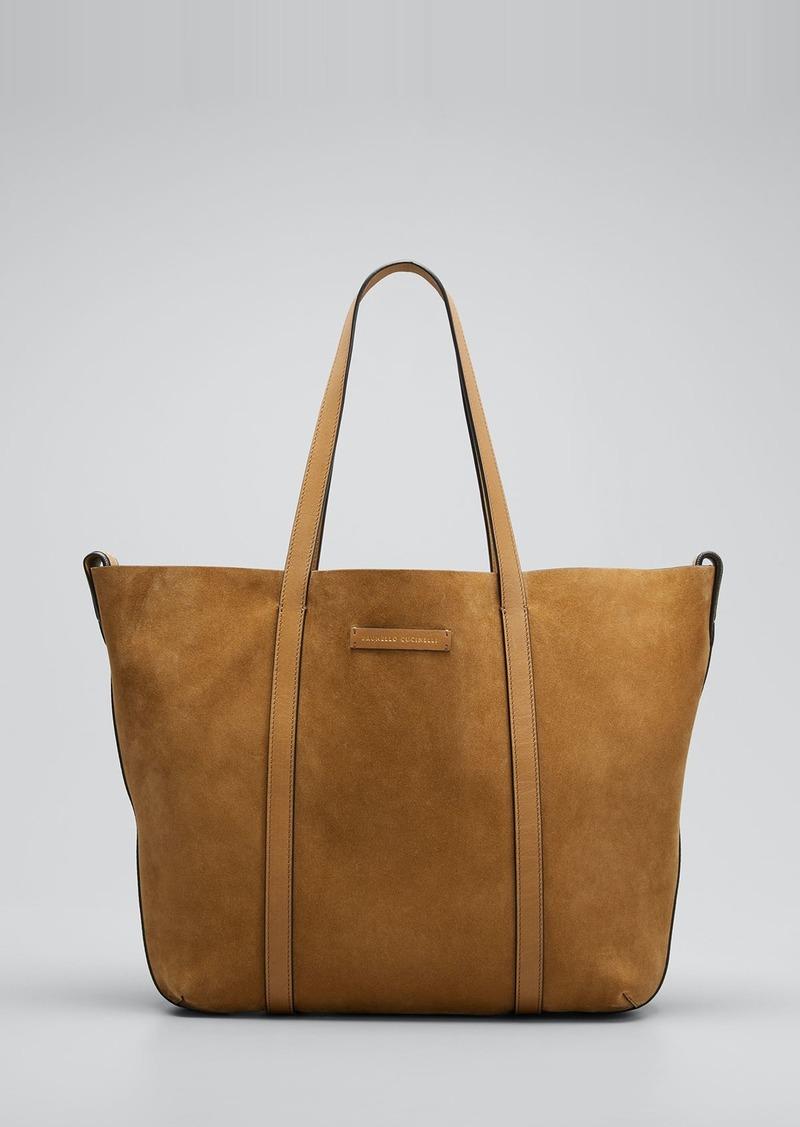 Brunello Cucinelli Reversible Suede & Leather Tote Bag