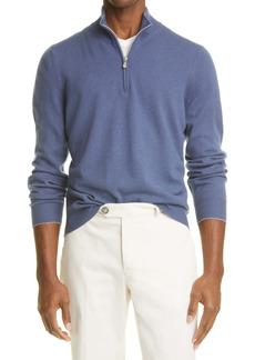 Brunello Cucinelli Rib Quarter Zip Cashmere Sweater
