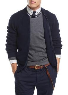 Brunello Cucinelli Ribbed Knit Full-Zip Cardigan