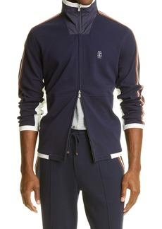 Brunello Cucinelli Ribbon Trim Zip Front Knit Jacket