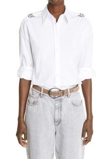 Brunello Cucinelli Ring Button-Up Poplin Shirt