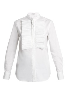 Brunello Cucinelli Ruffled-bib stretch-cotton shirt
