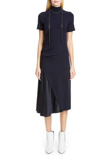 Brunello Cucinelli Satin Panel Wool Blend Midi Dress