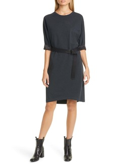 Brunello Cucinelli Satin Trim Belted T-Shirt Dress