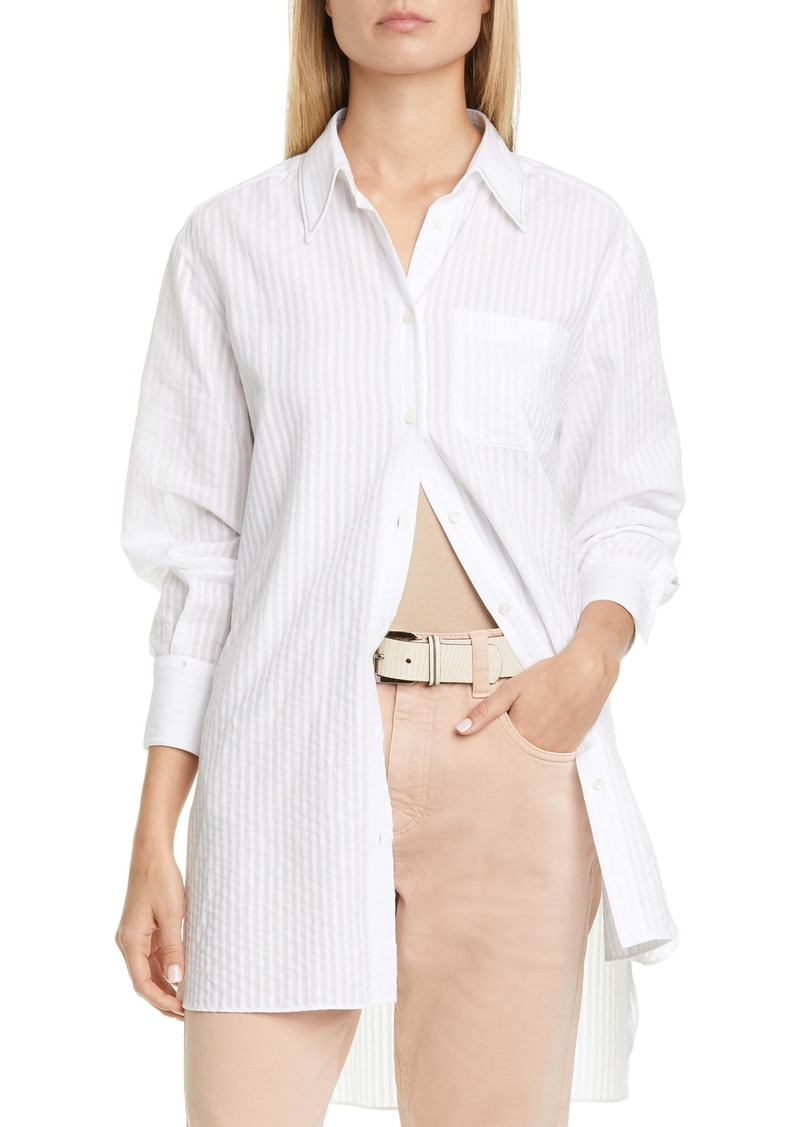 Brunello Cucinelli Seersucker Stripe Shirt
