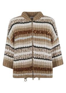 Brunello Cucinelli Sequin Cable Knit Cardigan