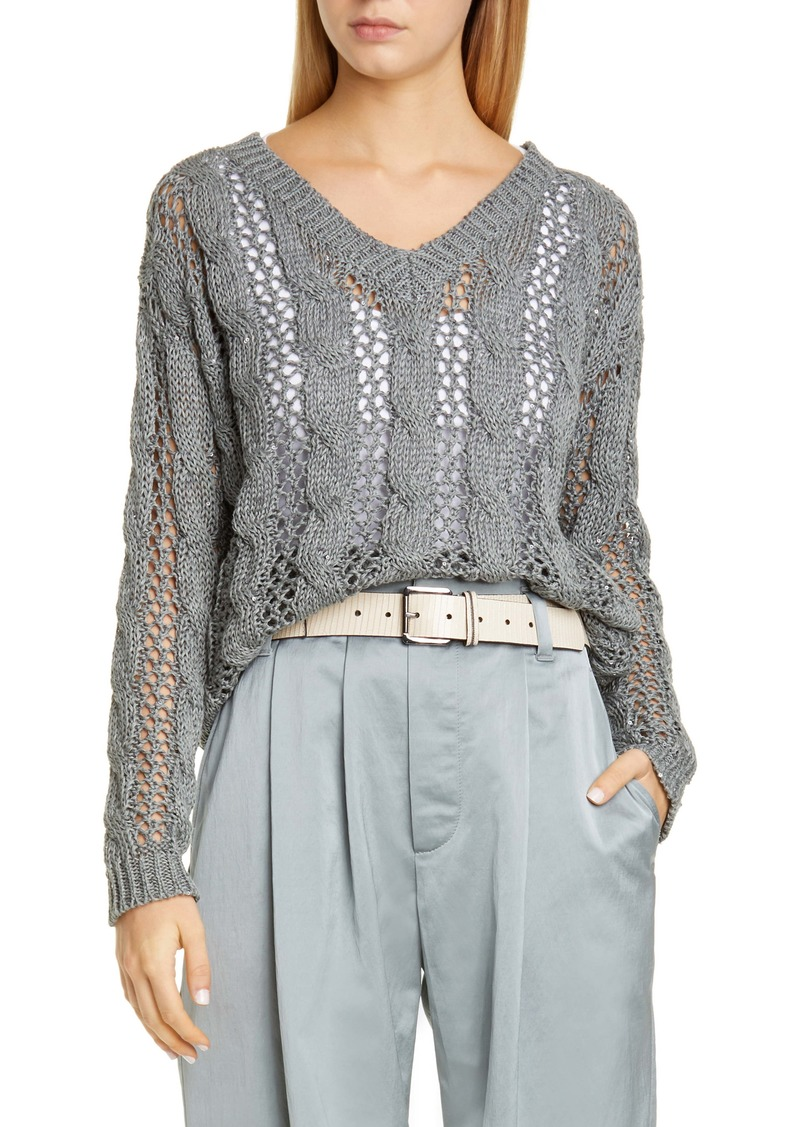 Brunello Cucinelli Sequin Cotton, Linen & Silk Sweater