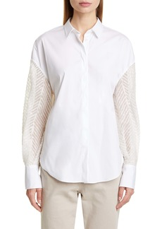 Brunello Cucinelli Sequin Sleeve Poplin Shirt