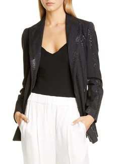 Brunello Cucinelli Sequin Stripe Belted Blazer