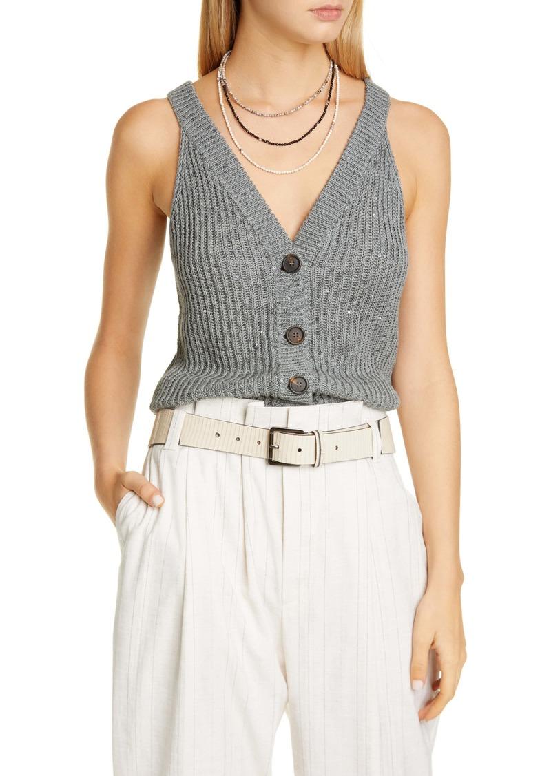 Brunello Cucinelli Sequin Sweater Vest