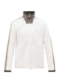 Brunello Cucinelli Shell-panel grosgrain-trimmed jersey track jacket