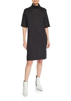 Brunello Cucinelli Shimmer Cashmere-Silk Mock-Neck Dress