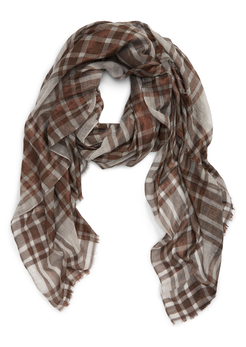 Brunello Cucinelli Shimmer Check Blanket Scarf
