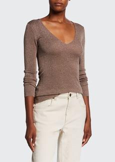 Brunello Cucinelli Shimmer V-Neck Fitted Sweater