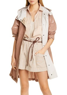 Brunello Cucinelli Shiny Cotton Longline Cinched Jacket