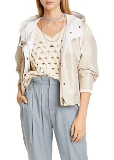 Brunello Cucinelli Short Shiny Cotton Hooded Jacket