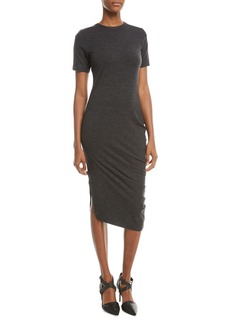 Brunello Cucinelli Short-Sleeve Jersey Monili-Shoulder Dress