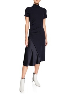 Brunello Cucinelli Short-Sleeve Mock Neck Dress