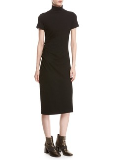 Brunello Cucinelli Short-Sleeve Monili-Trim Jersey Turtleneck Midi Dress