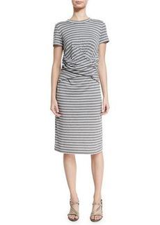 Brunello Cucinelli Short-Sleeve Striped Crossover-Waist Dress