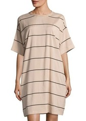 Brunello Cucinelli Short-Sleeve Striped Stretch-Silk Dress