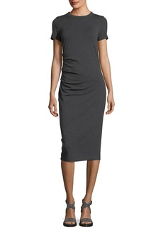 Brunello Cucinelli Short-Sleeve Wool Jersey Midi Dress