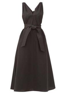 Brunello Cucinelli Shoulder-embellished belted poplin dress