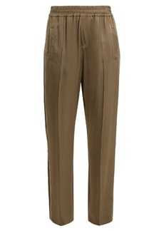 Brunello Cucinelli Side-stripe wide-leg satin trousers