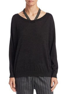 Brunello Cucinelli Silk and Cashmere Cut-Out Sweater