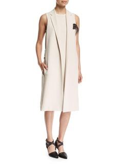 Brunello Cucinelli Silk Crepe Vest Dress with Feather Trim