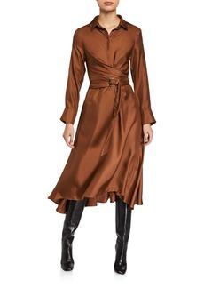 Brunello Cucinelli Silk Long-Sleeve Belted Shirtdress