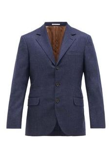 Brunello Cucinelli Single-breasted pinpoint wool-flannel blazer