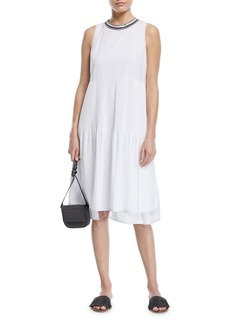 Brunello Cucinelli Sleeveless Cotton Dress with Plisse Center & Metallic Band