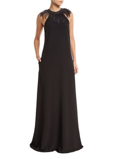 Brunello Cucinelli Sleeveless Silk-Crepe Evening Gown with Feather Collar