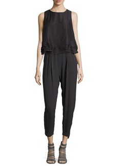 Brunello Cucinelli Sleeveless Silk Layered Cropped Jumpsuit