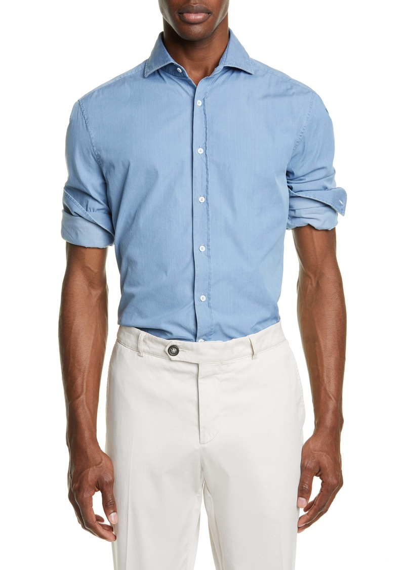 Brunello Cucinelli Slim Fit Chambray Button-Up Shirt
