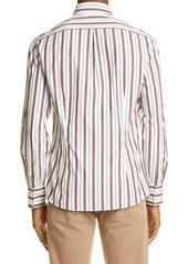 Brunello Cucinelli Slim Fit Double Stripe Button-Down Shirt