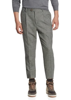 Brunello Cucinelli Slim-Fit Houndstooth Plaid Pants